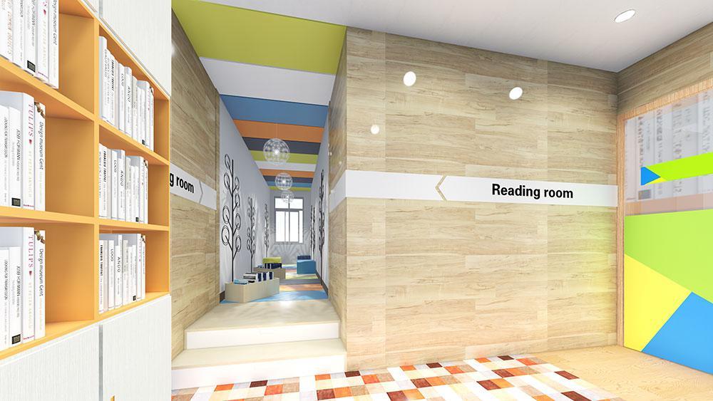 改造前的儿童阅读室光线昏暗,色彩单调,狭长的通道内堆满杂物,杂乱不